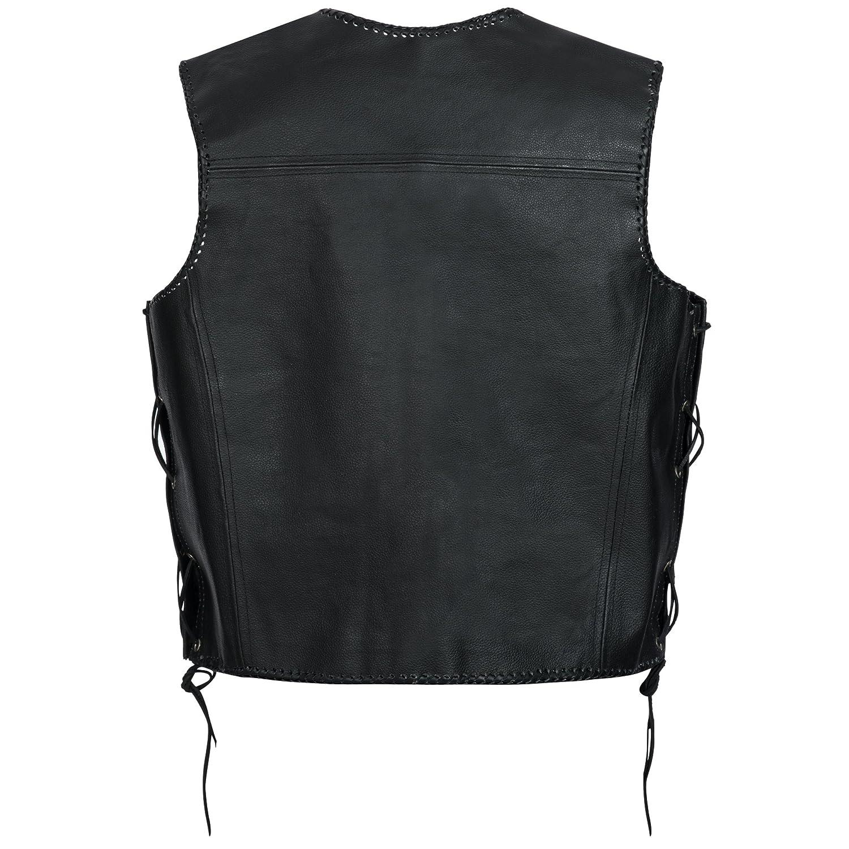 Gaudi-leathers Mens Leather Waistcoat Motorcycle Motorbike Chopper Biker Vest in Black