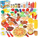 Shimfun Play Food Set, 130pc Play Food for kids & Toddlers Kitchen Toy Playset. Pretend Play Fake Toy Food, Play Kitchen Acce