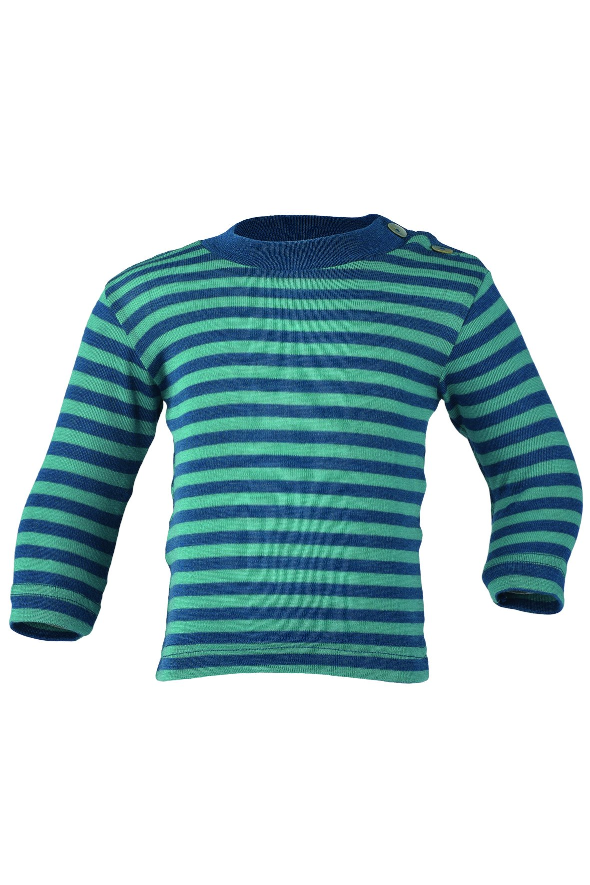 Engel 70% Organic Wool 30% Silk Baby Shirt Long Sleeve Buttons on The Shoulder (98/104 (2T-3T), Light Ocean/Blue) by Engel