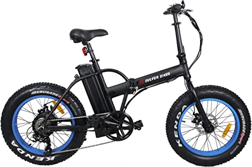 Culver Bikes Pro Folding Electric Bicycle 500W 48V E-Bike 20 X 4.0 Fat Tire Bike Beach Cruiser Foldable E-Bike for Burning Man