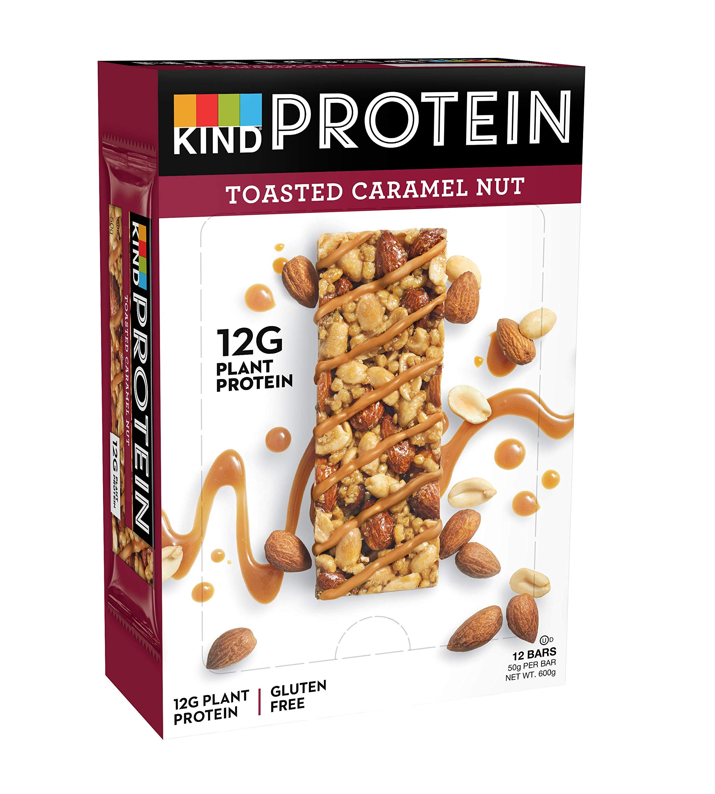 KIND Toasted Caramel Nut- High Protein Bars- Low Carb Snack- 12x 50g product image