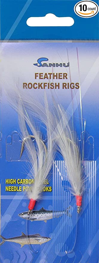 10 Packs 3//0 Rock Cod Feather Rigs 5 Red-Yellow /& 5 White 2 Rigs per pack