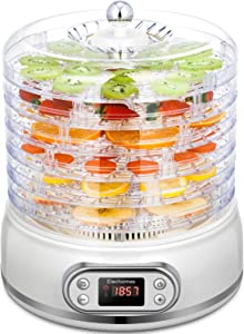 Elechomes UH0401 Food Dehydrator, 6 Trays with Mesh Screen and Fruit Roll Sheet, Fast Drying for Beef Jerky, Meat, Fruit, Dog Treats, Herbs, Vegetable, Digital Time & Temperature Control, Power Saving 400W, BPA Free