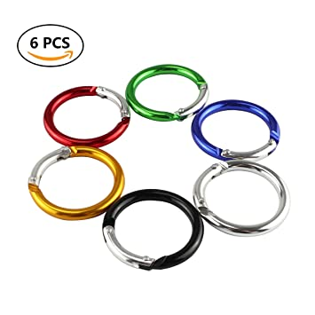 6pcs Circle Round  Buckle Camp Spring Snap Clip Hook Keychain Climbing Tool