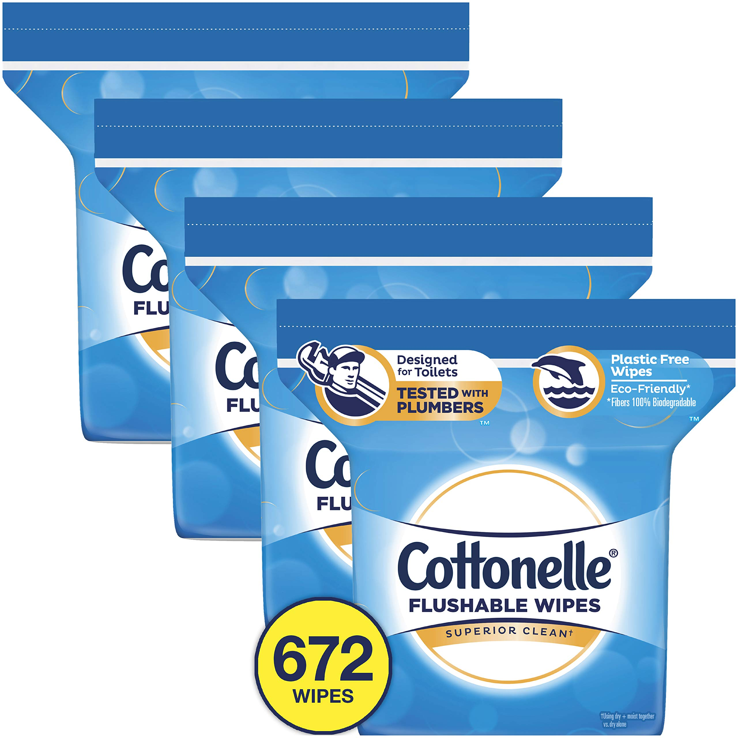 Cottonelle Flushable Wet Wipes, 168 Wipes per Resealable Pack (672 Wipes Total) by Cottonelle