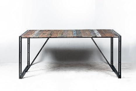 Tavolo Stile Industriale : Tavolo stile industrial base in ferro e piano in legno massello cm