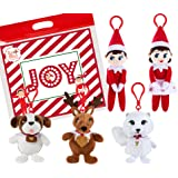 """The Elf on the Shelf Plushee Mini Pals 4"""" Clip-Ons Set of 5, with Exclusive Joy Travel Bag"""