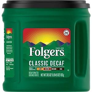 Folgers Classic Decaf Medium Roast Ground Coffee, 30.5 Ounces
