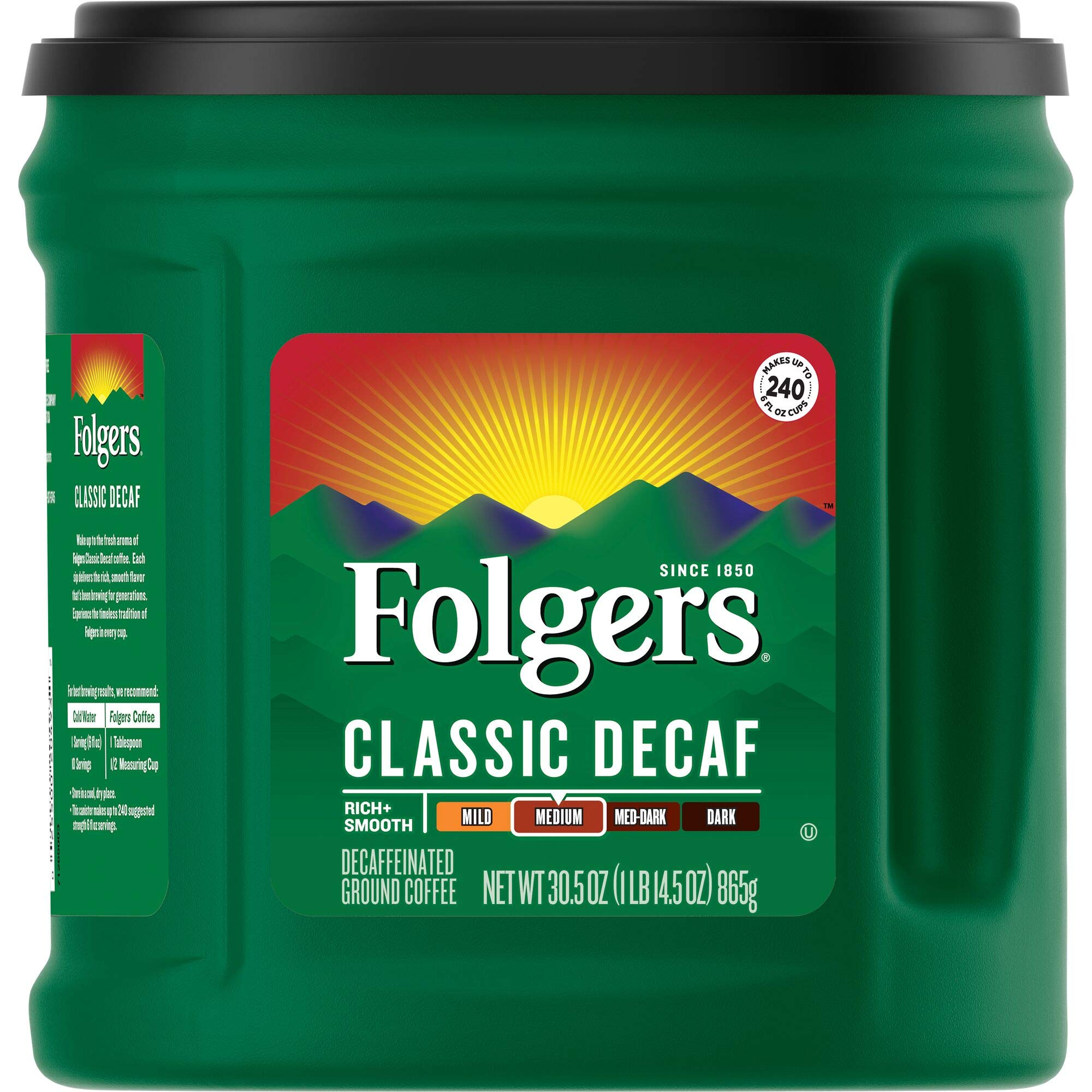 Folgers Classic Decaf Ground Coffee, Medium Roast, 30.5 Ounce (Pack of 6), Packaging May Vary
