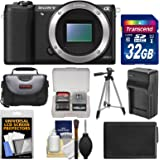 Sony Alpha A5100 Wi-Fi Digital Camera Body (Black) with 32GB Card + Case + Battery & Charger + Tripod + Kit
