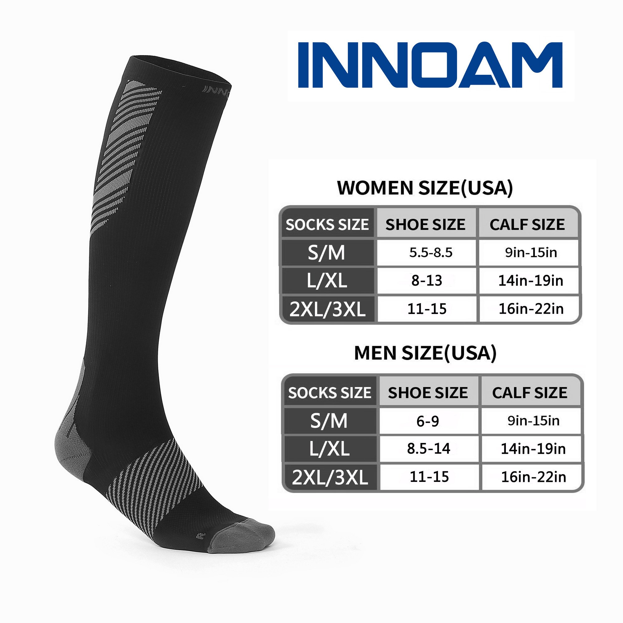 Compression Socks for Men & Women Best Stockings for Nurses, Workout, Running, Medical, Athletic, Edema, Diabetic, Pregnancy, Travel, Varicose Veins, Reduce Swelling, 20-30mmHg (Black Gray, 2XL/3XL) by Innoam (Image #5)