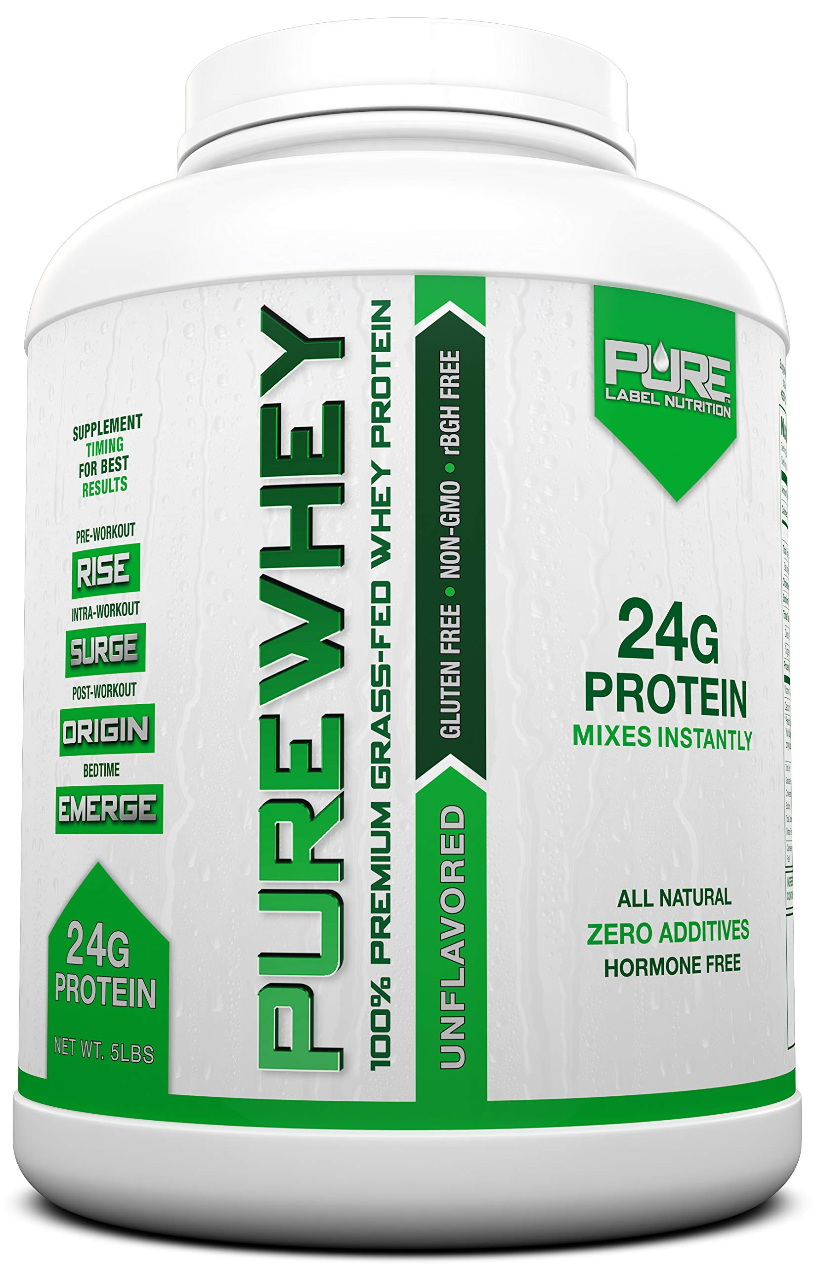 Grass Fed Whey Protein - 5lb Unflavored - 100% Natural, Cold Processed Undenatured Whey w/No Sweeteners or Added Sugars - rBGH Free + GMO-Free + Gluten Free + Preservative Free - Pure Whey by Pure Label Nutrition