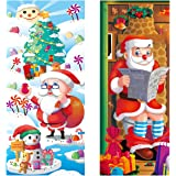 """UNOMOR Large Christmas Door Cover for Christmas decorations- Santa and Christmas Tree, Durable, 2 Pieces, 79.8"""" X 35.4"""", 79.8"""" X 31.5"""""""