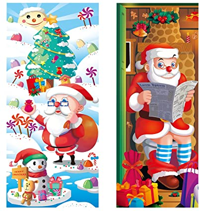 unomor 2pcs christmas door covers christmas party decorations door toilet 31