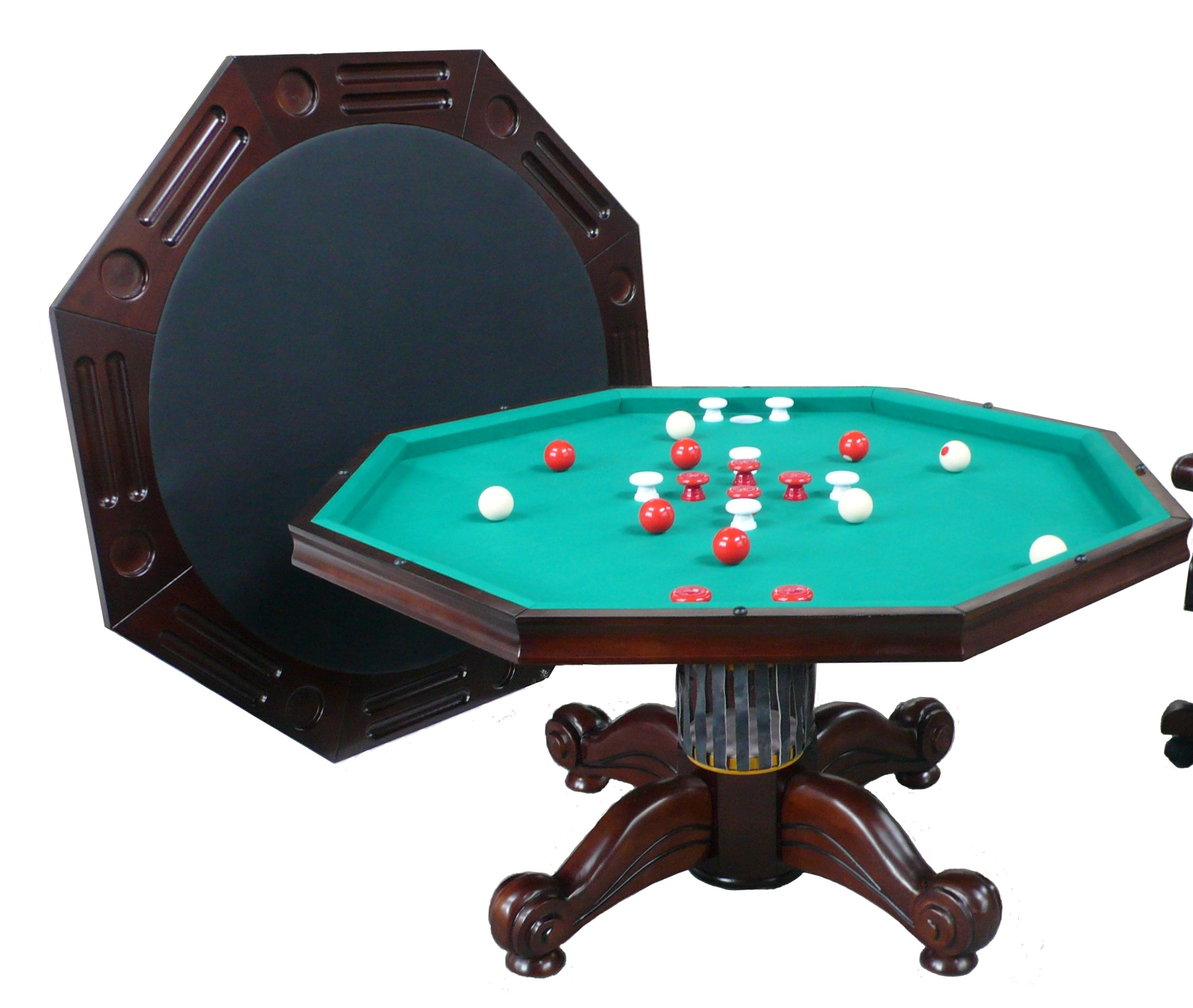 3 in 1 Game Table - Octagon 54'' Bumper Pool, Poker & Dining in Dark Walnut By Berner Billiards