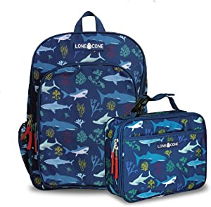 LONECONE Kids' Back to School Bundle - Backpack & Lunch Box Matching Set, Shark Attack