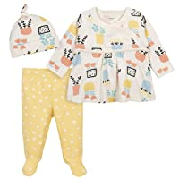 Grow by Gerber Baby Girl's Organic 3-Piece Shirt, Footed Pant, and Cap Set Pants, Yellow/Ivory, 3-6 Months