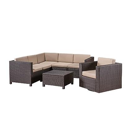 Fine Amazon Com Great Deal Furniture Phillips Outdoor 6 Seater Spiritservingveterans Wood Chair Design Ideas Spiritservingveteransorg
