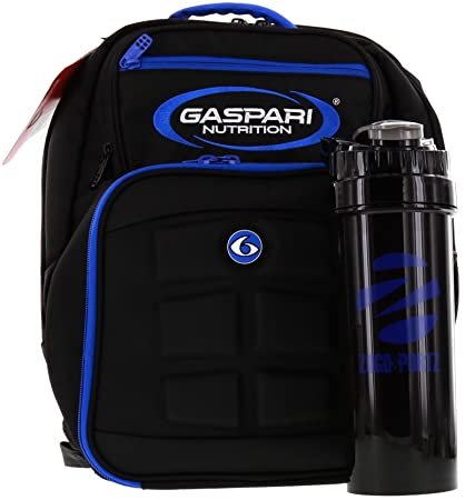 4b1350b5b13b Image Unavailable. Image not available for. Color  6 Pack Fitness Gaspari Expedition  Backpack W  Removable Meal Management System 300 Black Blue