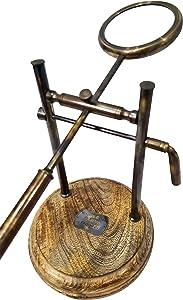 Antique Watkins & Hill Opticians London 1814 Solid Brass Magnifying Glass Wooden Base Office Desktop Victorian Magnifier