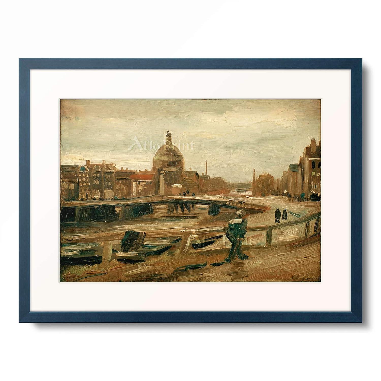 フィンセントファンゴッホ Vincent Willem van Gogh 「De Singel in Amsterdam」 額装アート作品 B07PDBB9L2 10.木製額 13mm(青) L(額内寸 509mm×394mm) L(額内寸 509mm×394mm)|10.木製額 13mm(青)