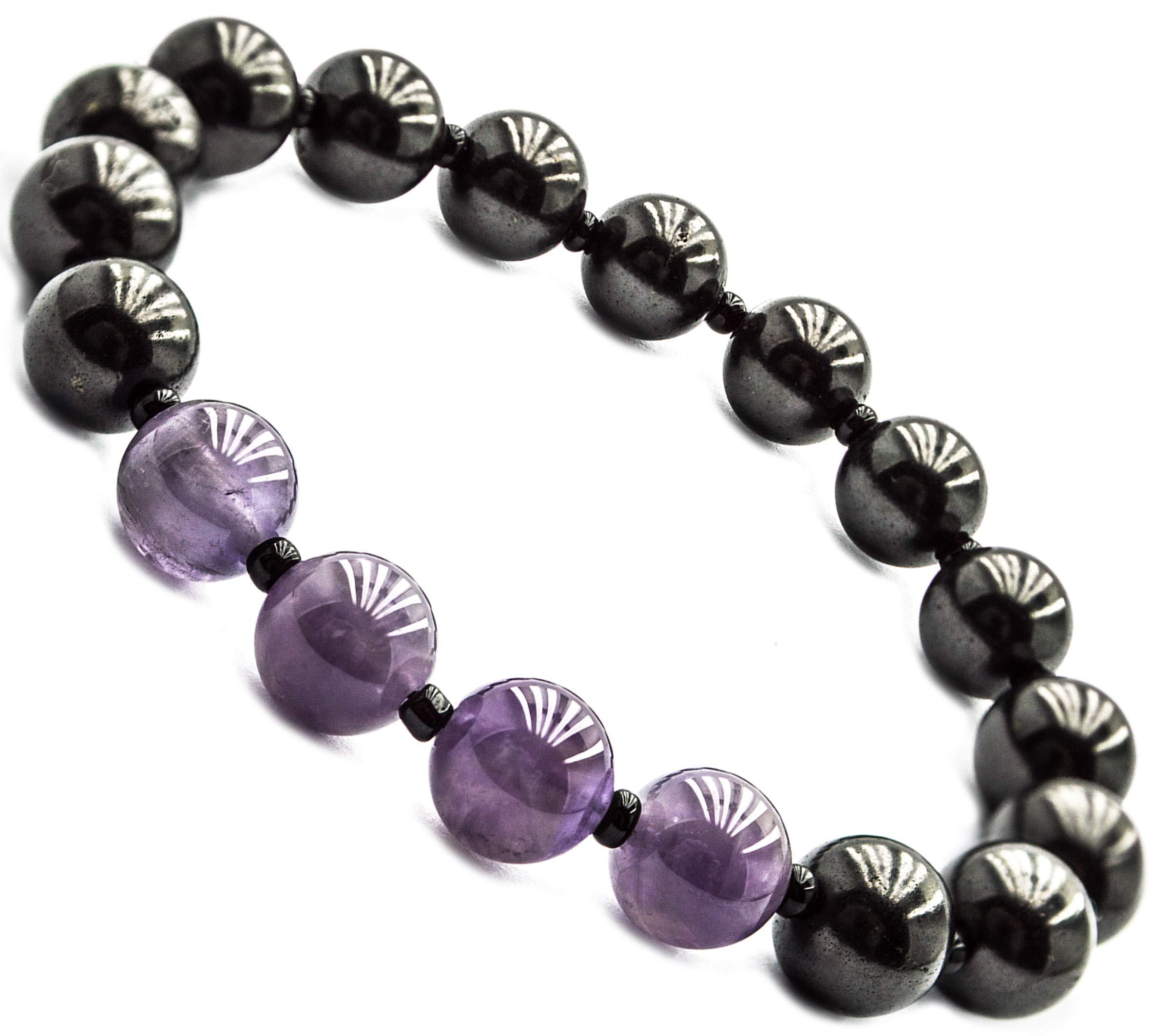Wallystone Gems Shungite Bracelet Stretch with Natural Shungites and Gemstones Beads (Amethyst) by Wallystone Gems