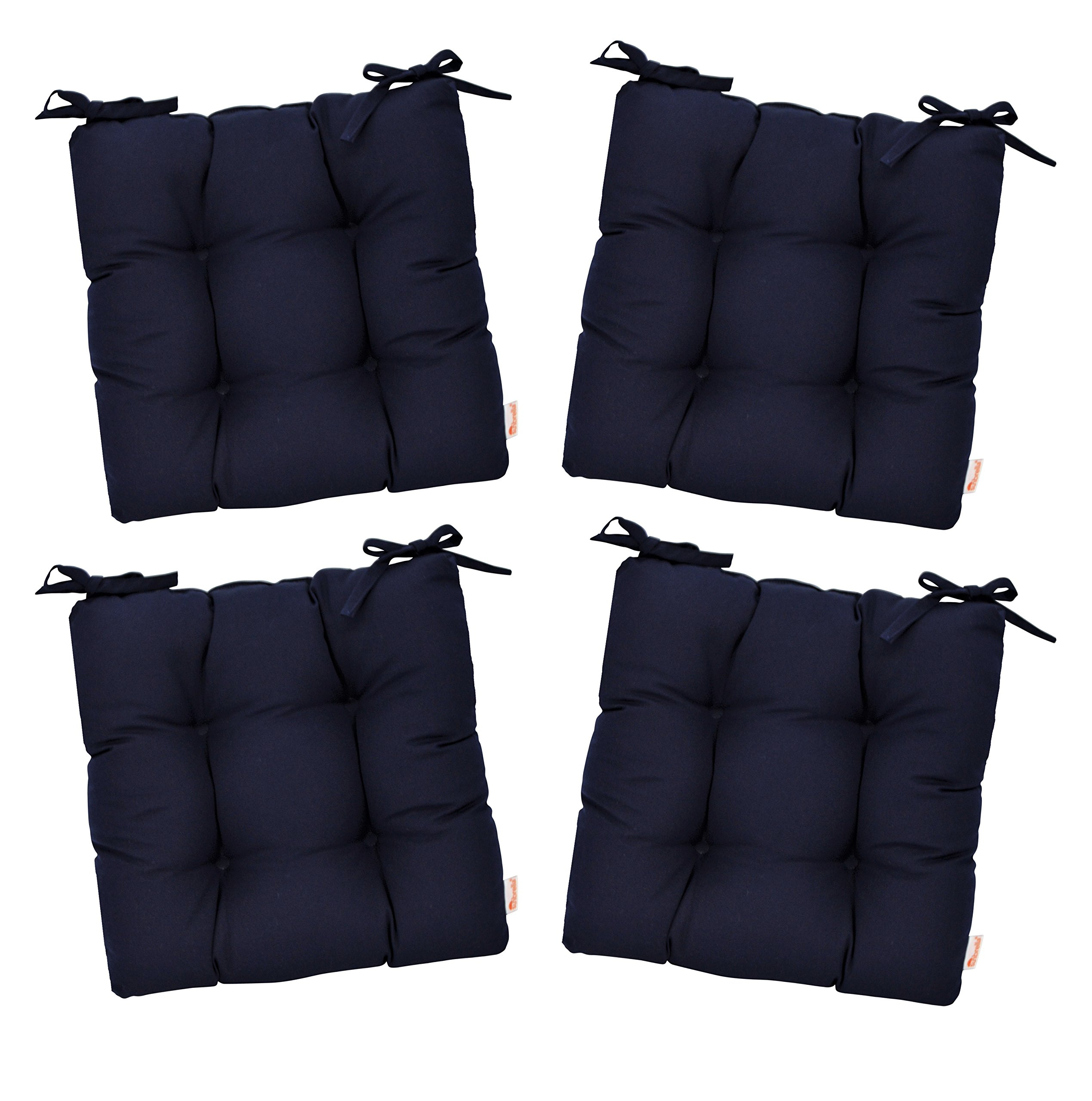 "RSH Décor Set of 4 - Indoor/Outdoor Sunbrella Canvas Navy Blue Tufted Seat Cushions with Ties for Dining/Patio Chairs (16"" x 16"")"