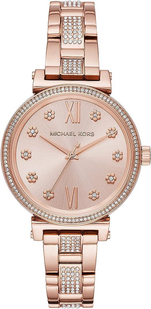 Michael Kors Women's Sofie Quartz Stainless Steel Strap, Rose Gold, 14 Casual Watch (Model: MK3882)
