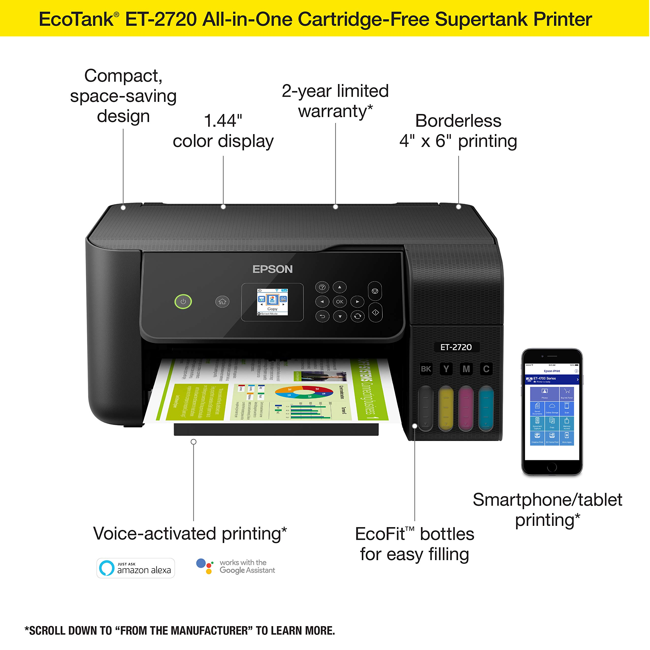 Epson EcoTank ET-2720 Wireless Color All-in-One Supertank Printer with Scanner and Copier - Black by Epson (Image #3)