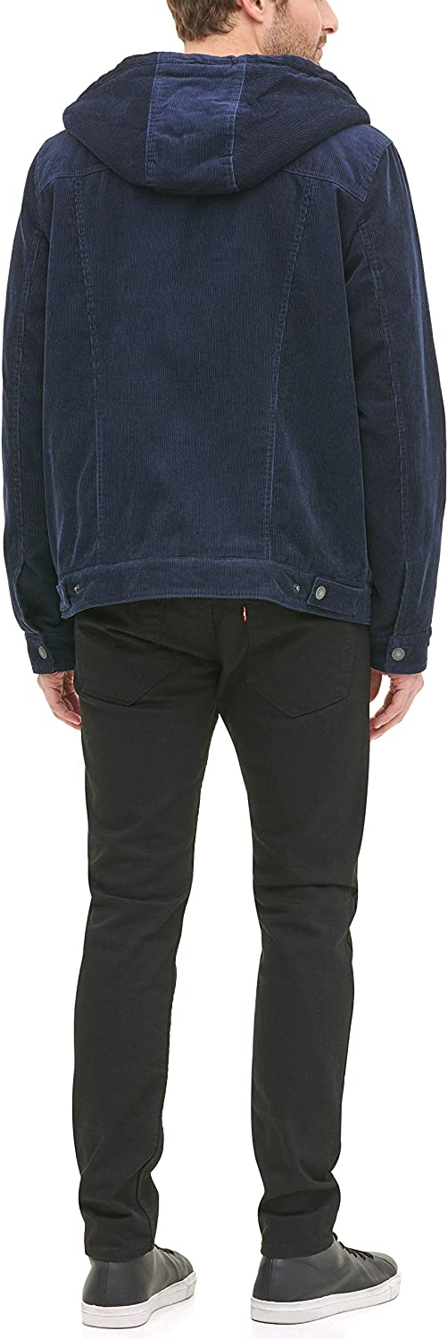 Levi's Men's Corduroy Sherpa Lined Hooded Trucker Jacket Denim Navy
