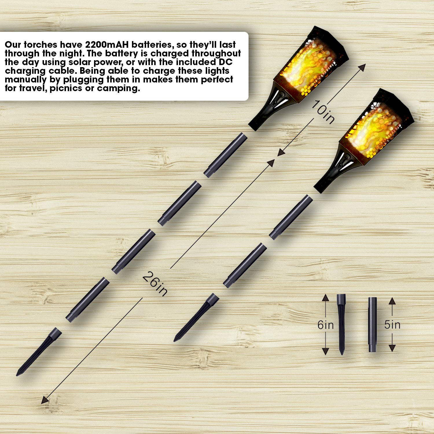 SteadyDoggie Solar Torch Landscaping Light Kit 4 Pack| Flickering Flames Torch Lights | Upgraded with USB Charging | Solar Tiki Torches Outdoor | Dusk to Dawn Lighting with Auto On/Off Switch