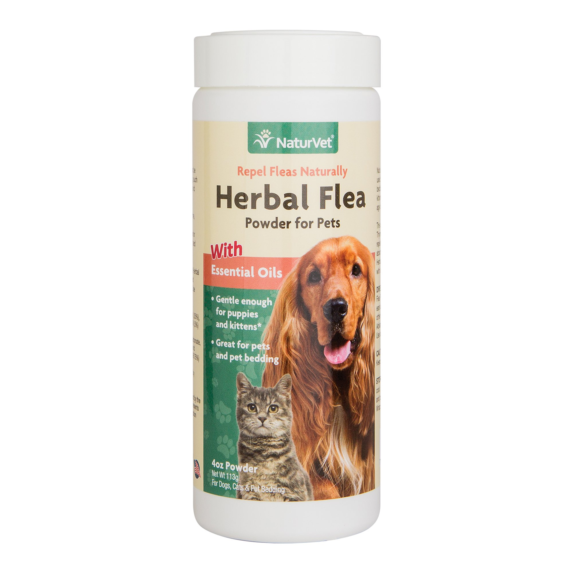 NaturVet Herbal Flea Powder with Essential Oils for Dogs and Cats, 4 oz Powder , Made in USA