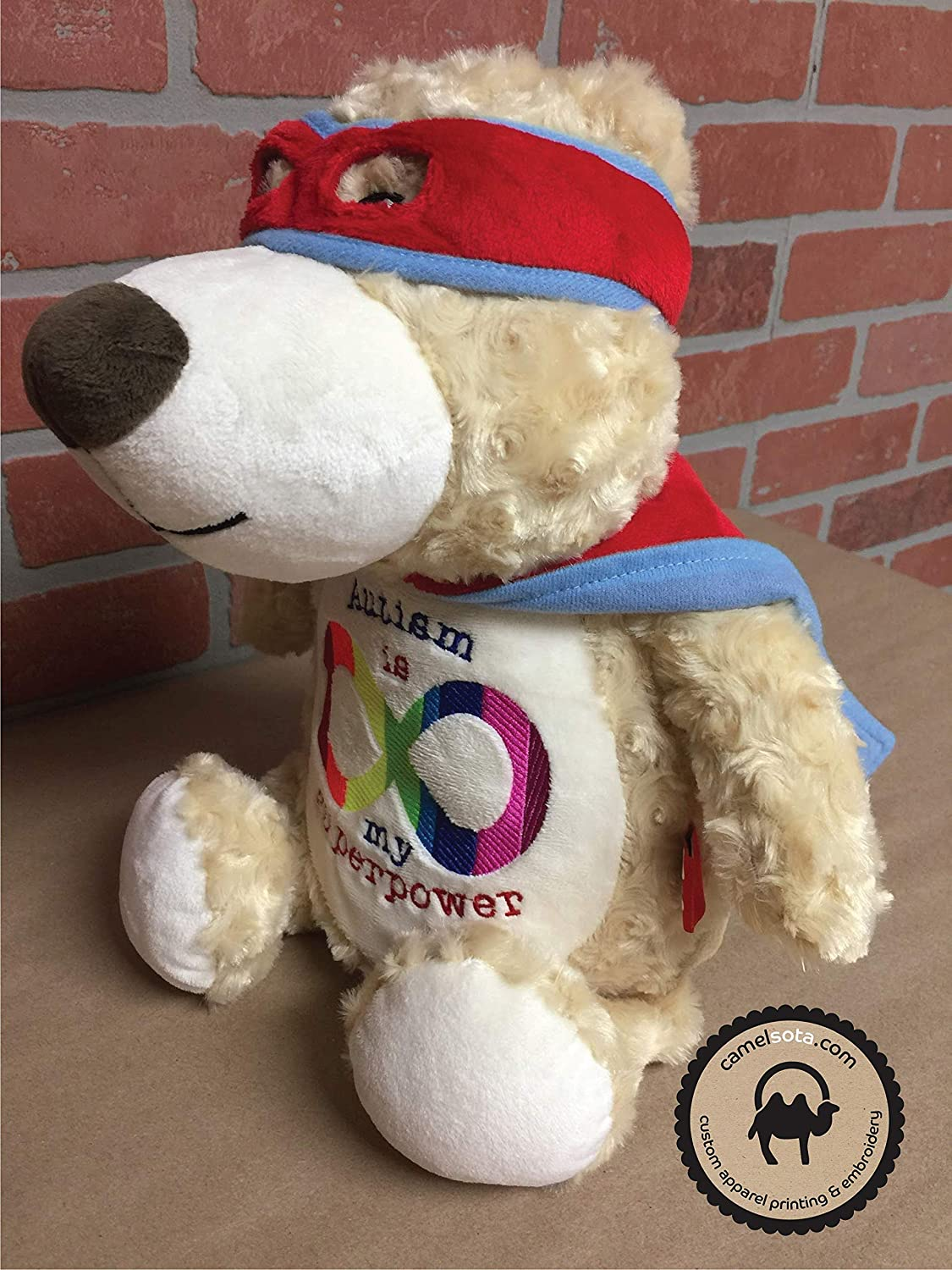 Autism Stuffed Bear Embroidered Autism Teddy Bear with Autism Infinity Symbol Autism Hero Bear Autism is My Superpower Customizable Autism Bear