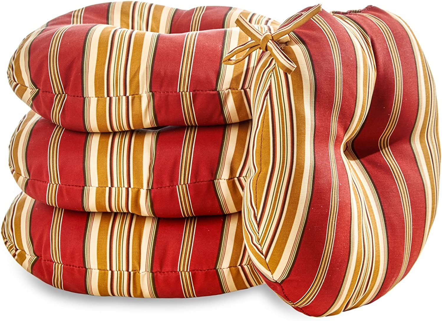 Greendale Home Fashions 18 in. Round Outdoor Bistro Chair Cushion set of 4 , Roma Stripe