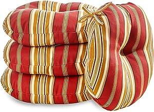 Greendale Home Fashions AZ6817S4-ROMASTRIPE Tuscan Stripe Outdoor 18-inch Bistro Seat Cushion (Set of 4)