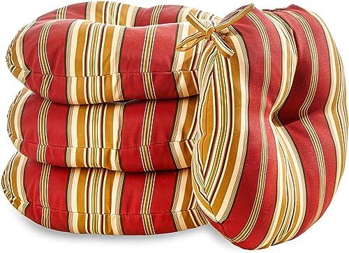 Greendale Home Fashions AZ6817S4-ROMASTRIPE Tuscan Stripe Outdoor 18-inch Bistro Seat Cushion Set of 4