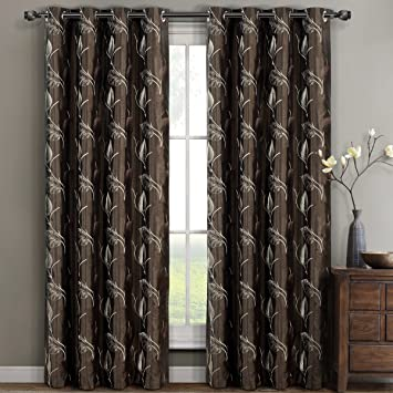 Set of 2 Olivia Grommet Window Curtain Panels,Polyester Embroidered Lined Panels