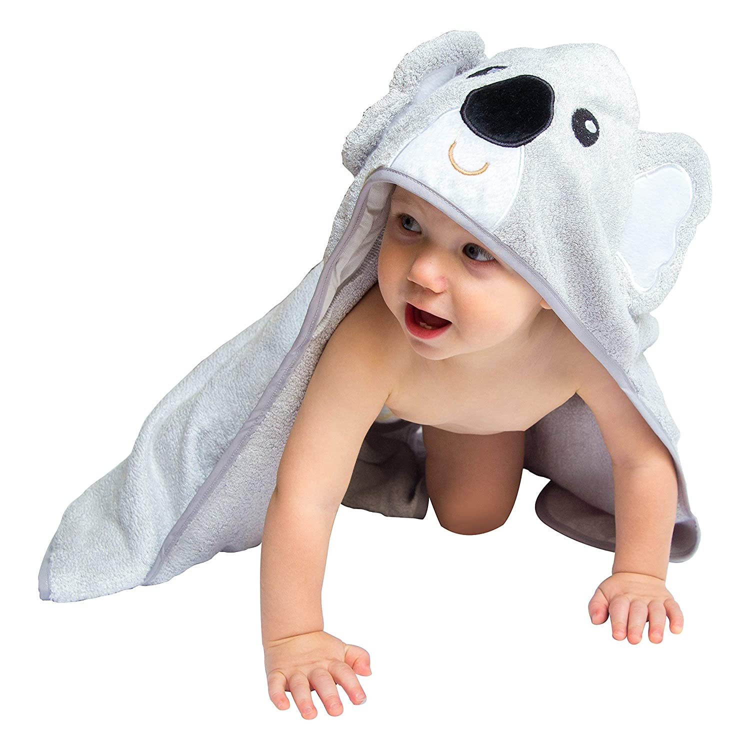Hooded Baby Bath Towel - Cute, Large, Plush, Ultra Absorbent, Thick, Soft Natural Bamboo Koala Bear Wrap - Robe Plus Washcloth Set - Best for Bath, Beach, Pool, Shower, Infant, Kids, Boys, Girls tini baby HTKO08.2017