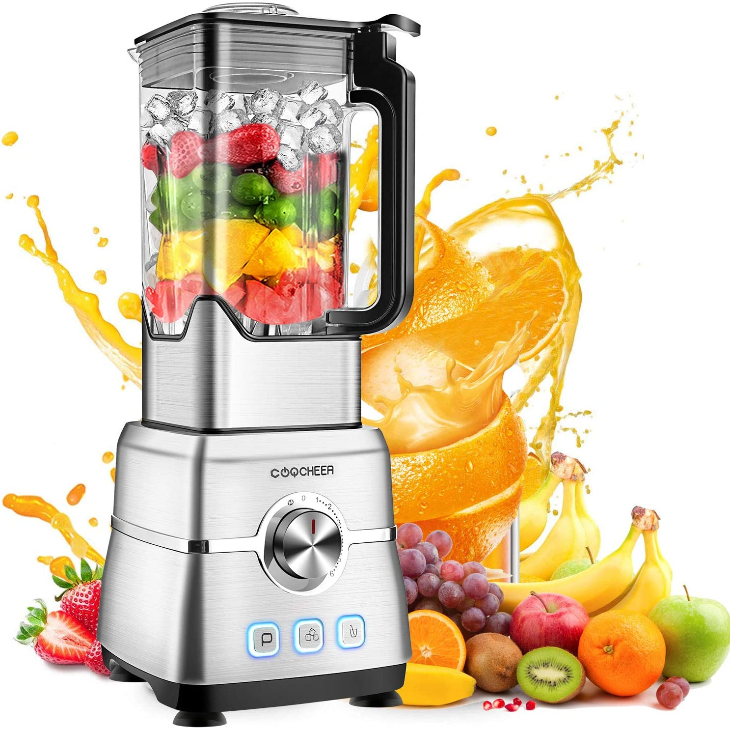 Blender Smoothie Maker, COOCHEER 1800W Blender for Shakes and Smoothies with High-Speed Professional Stainless Countertop, Variable speeds Control, 6 Sharp Blade, 2L BPA Free Tritan Container