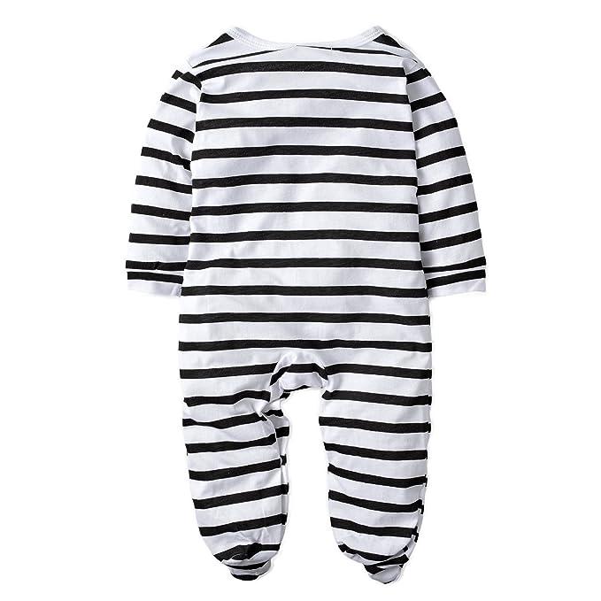 Bodys & Einteiler Jungen (0 -24 Monate) BIG ELEPHANT Baby Jungen 1 Stück Snap-Up gestreifte Lange Ärmel Spielanzug Kleidung H38