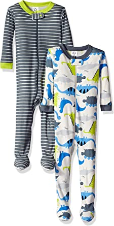 6 Months Gerber Baby Boys 2-Pack Footed Unionsuit Dino