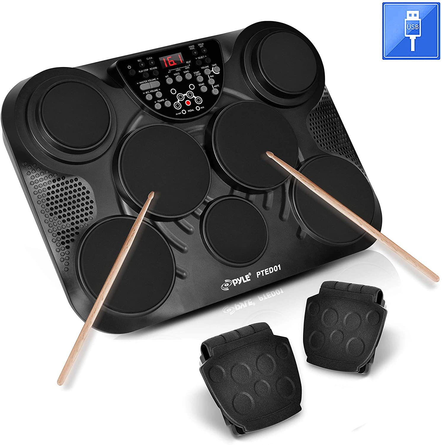 Tabletop Set Machine Mac /& PC Electric Drum Pads,LED Display Pyle-Pro Portable PTED01