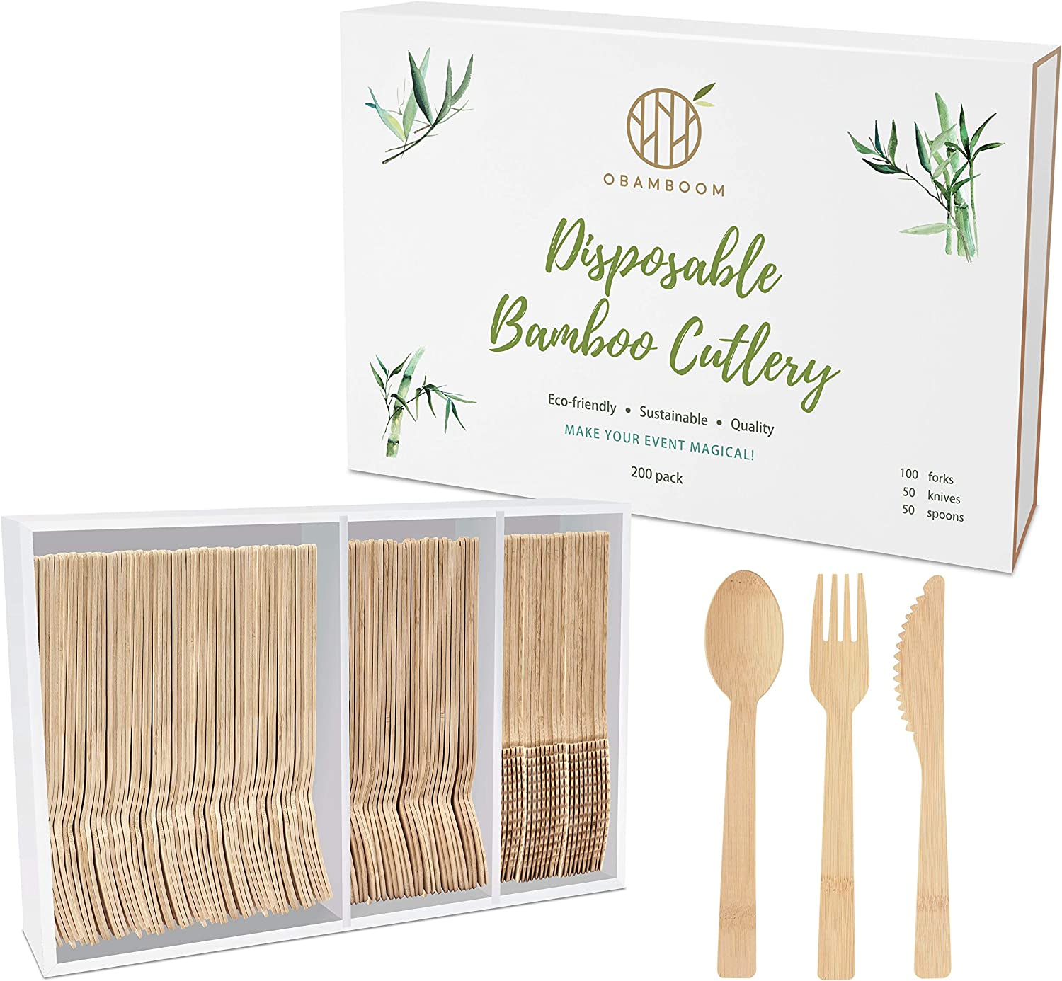 OBAMBOOM Eco-friendly Disposable Bamboo Cutlery - 200pc (100 Forks, 50 Knives, 50 Spoons) Superior to Wooden Cutlery! Natural and Compostable Flatware Utensils with Plastic-Free Packaging