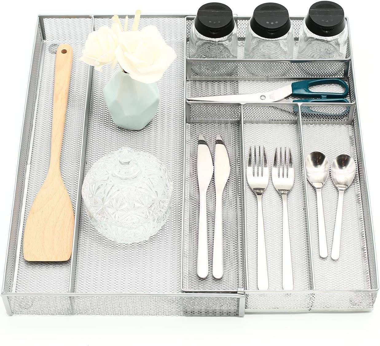 Ovicar Mesh Kitchen Drawer Cutlery Trays, Expandable Silverware Tray, Utility Flatware Organizer Utensil Holder with Non-slip Feet for Kitchen, Office, Bathroom Supplies (7 Slot Silver)