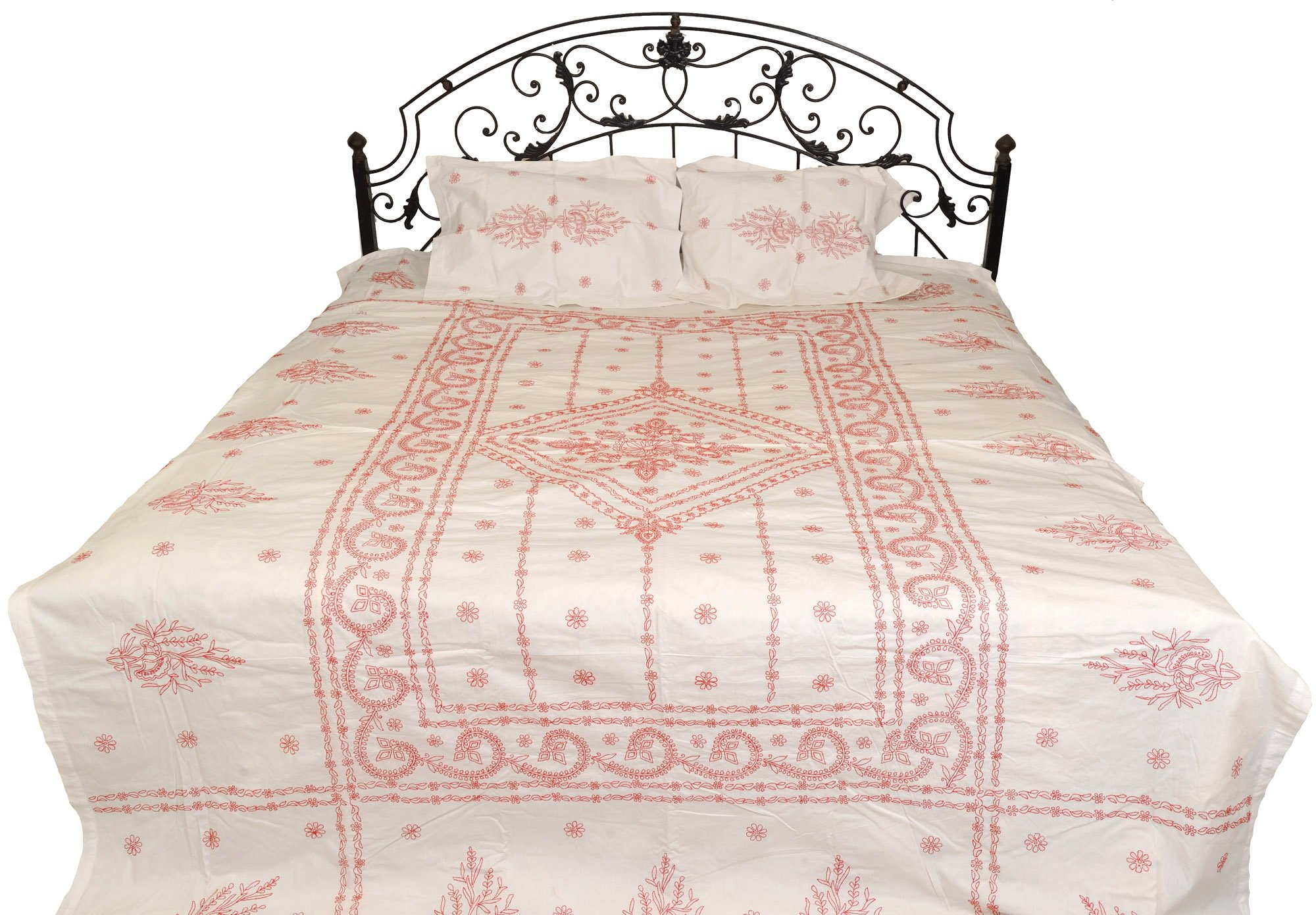 Egret-White Bedspread from Lucknow with Chikan Embroidery by Hand - Pure Cotton with Pillow Covers