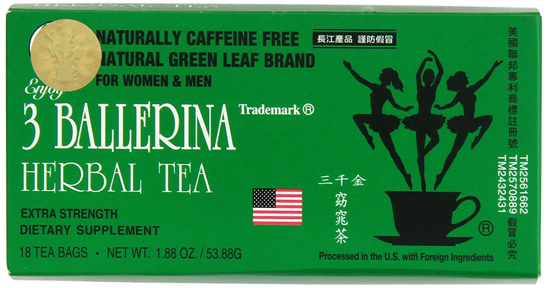3 Ballerina Diet Tea Regular / Extra Strength for Men and Women's Weigh Control (Extra Strength 18 Tea Bag (Pack Of 5))