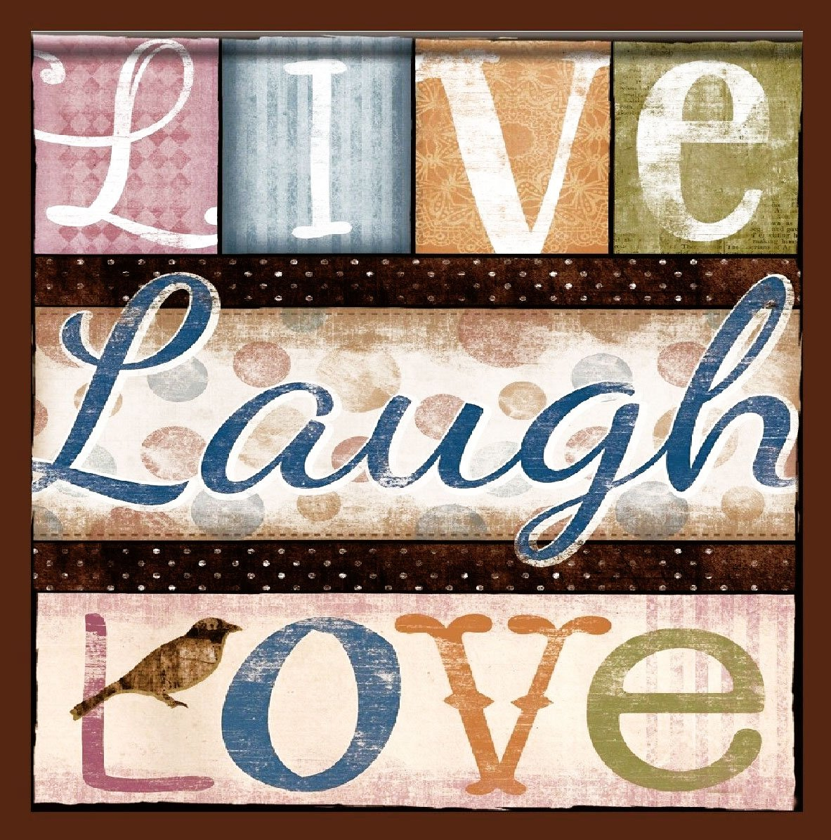 """Custom & Cool {3.5'' Inches} in Bulk Pack Set of 12 Square """"Grip Texture"""" Drink Cup Coasters Made of Flexible Poly Fabric w/ Rubber Bottom & Live Laugh Love Clipped Text [Colorful Tan Pink Orange Blue] by mySimple Products (Image #1)"""