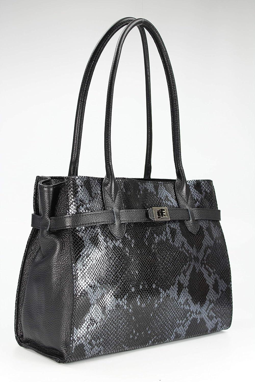 B x H x T BELLI Damen Ledertasche edle Schultertasche Handtasche aus echtem Leder in blau Snake 35x27x15 cm