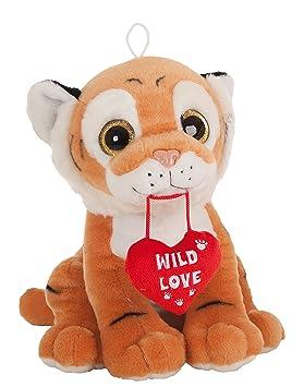 "Peluche Tigre marrón sentado con corazón ""wild love"" ..."