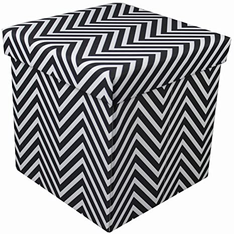 Tremendous Sorbus Chevron Storage Ottoman Cube Foldable Collapsible With Lid Cover Perfect Hassock Foot Stool Toy Storage Chest And More Small Ottoman Caraccident5 Cool Chair Designs And Ideas Caraccident5Info